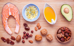 Selection food sources of omega 3 and unsaturated fats. Superfoo Stock Image
