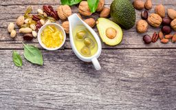 Selection food sources of omega 3 and unsaturated fats. Superfoo. D high vitamin e and dietary fiber for healthy food. Almond,pecan,hazelnuts,walnuts,olive oil Stock Photography