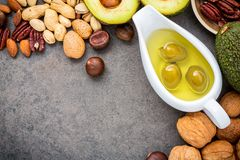 Selection food sources of omega 3 and unsaturated fats. Superfoo. D high vitamin e and dietary fiber for healthy food. Almond ,pecan,hazelnuts,walnuts,olive oil Stock Images