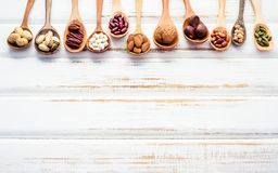 Selection food sources of omega 3 and unsaturated fats. Superfoo. D high vitamin e and dietary fiber for healthy food. Mixed nuts almond ,pecan,hazelnuts,walnuts Royalty Free Stock Photos