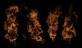 Selection of four fire flames Royalty Free Stock Photos