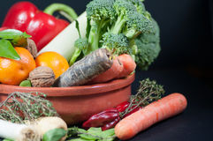 Selection of fresh fruits and vegetables Stock Photography