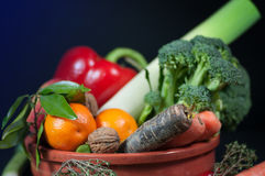 Selection of fresh fruits and vegetables Stock Image