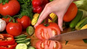 Selection of fresh vegetables slow motion