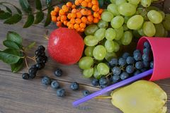 Selection of fresh juicy summer fruits and berries royalty free stock image
