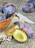 A selection of fresh plums Royalty Free Stock Images