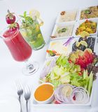 Selection of fresh salads in a restaurant Stock Photography