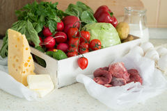 Selection of fresh vegetables from farmers market. Copy space Stock Photo