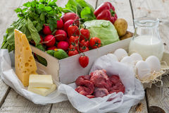 Selection of fresh vegetables from farmers market. Copy space Stock Photography