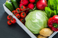 Selection of fresh vegetables from farmers market. Copy space, chalk board Royalty Free Stock Photography