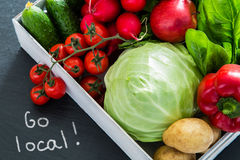 Selection of fresh vegetables from farmers market. Copy space, go local Stock Photos
