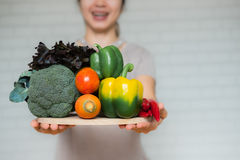 A selection of fresh vegetables for a heart healthy diet Stock Images