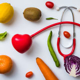 A selection of fresh vegetables for a heart healthy diet as recommended by doctors Royalty Free Stock Images