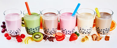 Selection of fruit flavored bubble or boba tea royalty free stock photo