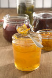 Selection of fruit jams Stock Photos