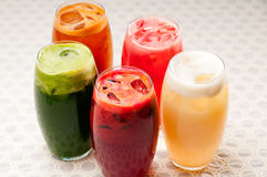 Selection of fruits long drinks Royalty Free Stock Photography