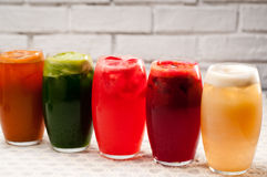 Selection of fruits long drinks Royalty Free Stock Photo