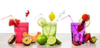 Selection of fruits non alcoholic cocktails over white Royalty Free Stock Image