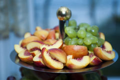 Selection of fruits served on plate Stock Photo