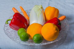 Selection fruits and vegetables. Selection of different fruits and vegetables stock photo