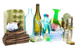 A selection of garbage for recycling. Segregated metal, plastic, Royalty Free Stock Photo