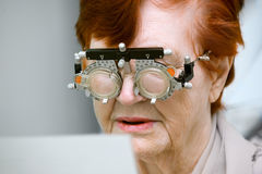 Selection of glasses an elderly woman Stock Images