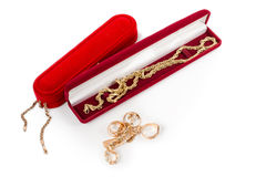 Selection of gold jewellery for a loved one Royalty Free Stock Photography