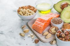Selection of good fat sources - healthy eating concept. Ketogenic diet concept stock photo
