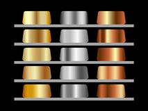 Selection of gradients of precious metals gold, silver, bronze. Vector design element stock illustration
