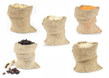 Selection of grain foods in bags Stock Photos