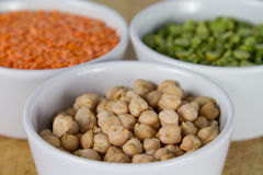 Selection of grains in bowls Stock Images