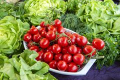 Selection of green and fresh vegetables from a farmer`s market.  royalty free stock photos