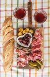 Selection of hams and salami Stock Photo