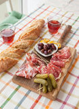 Selection of hams and salami Stock Image