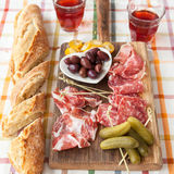 Selection of hams and salami Stock Images
