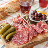 Selection of hams and salami Stock Photography