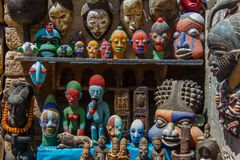 Selection of head masks on a traditional Moroccan market royalty free stock photo