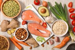 Selection of health food. Top view Royalty Free Stock Photography