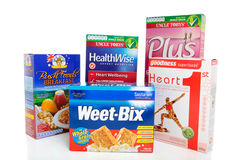 Selection of Healthy Breakfast Cereals. A selection of various boxed healthy breakfast cereals foods.  White background Stock Photography