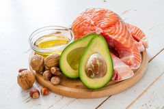 Selection of healthy fat sources Royalty Free Stock Photo