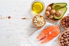 Selection of healthy fat sources Stock Photos