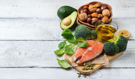Selection of healthy fat sources food, life concept Stock Images