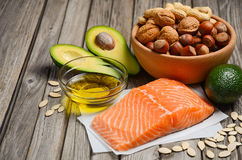 Selection of healthy fat sources. stock photos