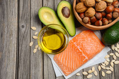 Selection of healthy fat sources. Stock Photography