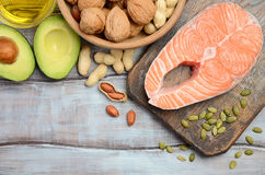 Selection of healthy fat sources. Top view, copy space Royalty Free Stock Photo