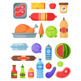 Selection of healthy food diet dinner lunch cooking nutrition cuisine vector illustration. Stock Photo