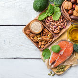 Selection of healthy food for heart, life concept Royalty Free Stock Images
