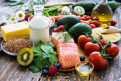 Selection of healthy food stock image