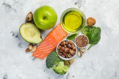 Selection of healthy food sources - healthy eating concept. Ketogenic diet concept. Copy space stock image