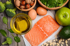 Selection of healthy products. Balanced diet concept. Stock Photography